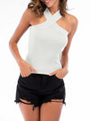 Sexy Cross Neck Knitted Sleeveless Summer Top For Women-White 2