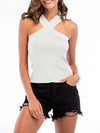 Sexy Cross Neck Knitted Sleeveless Summer Top For Women-White 1