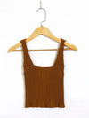 Fashion Knitted Square Neckline Crop Top With Buttons-Camel 2