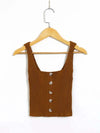 Fashion Knitted Square Neckline Crop Top With Buttons-Camel 1