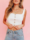 Fashion Knitted Square Neckline Crop Top With Buttons-White 2