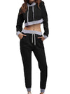 Casual Long Track Suit For Women With Crop Hoodie-Black 2