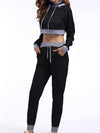 Casual Long Track Suit For Women With Crop Hoodie-Black 3