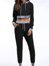 Casual Long Track Suit For Women With Crop Hoodie-Black 1