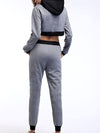 Casual Long Track Suit For Women With Crop Hoodie-Grey 2