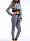 Casual Long Track Suit For Women With Crop Hoodie-Grey 3