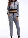 Casual Long Track Suit For Women With Crop Hoodie-Grey 1