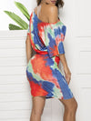 Fashion Street-Style Tie-Dye Dresses With Asymmteric Neck-Multicolor 2
