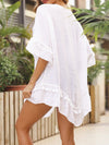 Blouse Overall Outside Lotus Leaf Beach Blouse Sunscreen-White 2