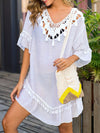 Blouse Overall Outside Lotus Leaf Beach Blouse Sunscreen-White 4