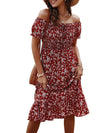 Bohemian Printed Off Shoulder Short Sleeves Sundress-Burgundy 2