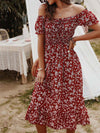 Bohemian Printed Off Shoulder Short Sleeves Sundress-Burgundy 1