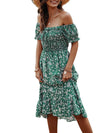 Bohemian Printed Off Shoulder Short Sleeves Sundress-Green 2