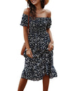 Bohemian Printed Off Shoulder Short Sleeves Sundress-Navy Blue 2