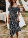 Bohemian Printed Off Shoulder Short Sleeves Sundress-Navy Blue 1