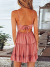 Women'S Sexy Lace-Up Back Short Summer Dress With Lace-Pink 2
