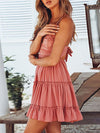 Women'S Sexy Lace-Up Back Short Summer Dress With Lace-Pink 3