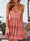 Women'S Sexy Lace-Up Back Short Summer Dress With Lace-Pink 1