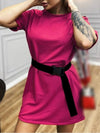Home Furnishing Loose Sports Fashion Casual T-Shirt Dress With Belt Solid Color-Hot Pink 1