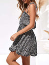 Cute Short Printed Summer Dress With Spaghetti Straps-Black 3