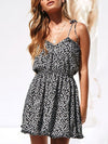 Cute Short Printed Summer Dress With Spaghetti Straps-Black 1