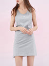 Comfy Sleeveless Round Neck T-Shirt Dress For Women-Grey 3