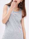 Comfy Sleeveless Round Neck T-Shirt Dress For Women-Grey 4