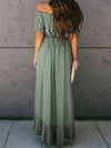 Sweet Off Shoulder Pleated Sundress With Ruffles For Women-Green 2