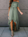 Sweet Off Shoulder Pleated Sundress With Ruffles For Women-Green 4
