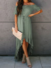 Sweet Off Shoulder Pleated Sundress With Ruffles For Women-Green 1