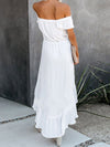 Sweet Off Shoulder Pleated Sundress With Ruffles For Women-White 2