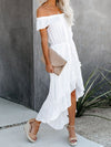 Sweet Off Shoulder Pleated Sundress With Ruffles For Women-White 3
