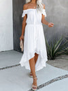 Sweet Off Shoulder Pleated Sundress With Ruffles For Women-White 1