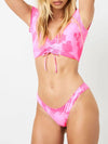 Fashion Tie-Dye Swimsuit Bikini With Short Sleeves And Drawstrings-Pink 1
