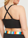 Fashion Women High Waisted Rainbow Swimsuit With Straps-Black 2