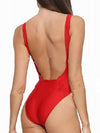 Sexy One-Piece Plunging Neck Backless Swimsuit For Women-Red 1
