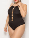 Sassy Halter Round Neck Hollow Backless Bathing Swim Suit-Black 4