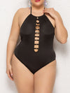 Sassy Halter Round Neck Hollow Backless Bathing Swim Suit-Black 1