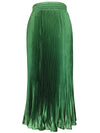 Classic Pleated Midi Skirt With Elastic Waist For Women-Green 1