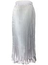 Classic Pleated Midi Skirt With Elastic Waist For Women-Silver 1