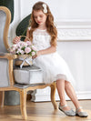 Dainty Sleeveless Knee Length Tulle Flower Girl Dress-White 4