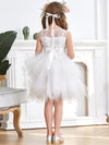 Cute Sweetheart Neck Applique Tulle Flower Girl Dress-White 2