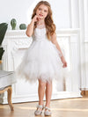 Cute Sweetheart Neck Applique Tulle Flower Girl Dress-White 3
