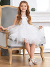 Cute Sweetheart Neck Applique Tulle Flower Girl Dress-White 4
