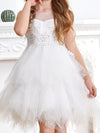 Cute Sweetheart Neck Applique Tulle Flower Girl Dress-White 5