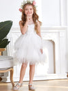 Cute Sweetheart Neck Applique Tulle Flower Girl Dress-White 1