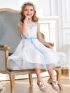 Fancy Knee-length Sheer Neck Flower Girl Dress with Bow-White 4
