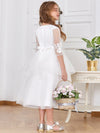 Dainty Knee Length Layered Flower Girl Dress with Long Sleeves-White 2