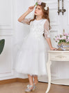 Dainty Knee Length Layered Flower Girl Dress with Long Sleeves-White 3