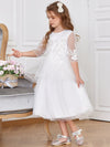 Dainty Knee Length Layered Flower Girl Dress with Long Sleeves-White 4